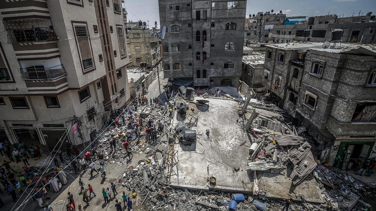 Viviendas palestinas en la franja de Gaza derribadas tras los bombardeos israelís de estas semanas.