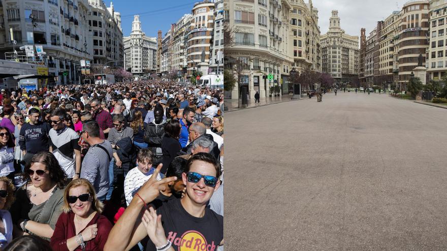 La espectacular mutación de la Plaza del Ayuntamiento en un marzo sin Fallas