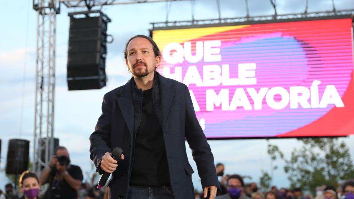 Pablo Iglesias, en un acto de campaña de las elecciones madrileñas.