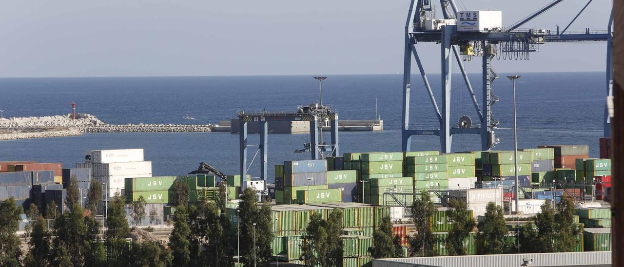 Contenedores en el puerto de Alicante dispuestos para su transporte