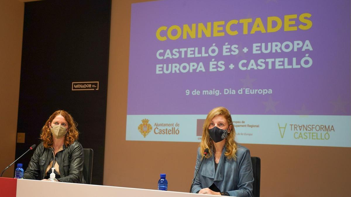 Carmen Vilanova, directora de la Oficina de Proyectos Europeos y la alcaldesa de Castelló, Amparo Marco.