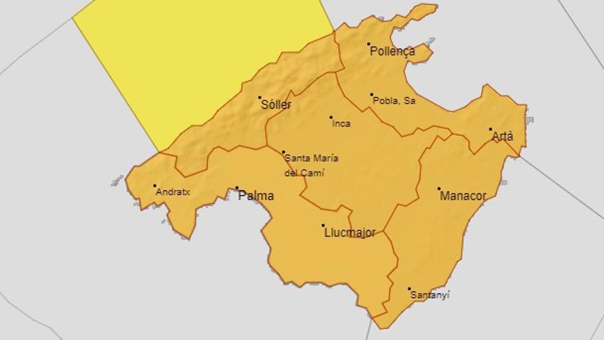 Wetterdienst gibt für Dienstag Warnstufe Orange auf Mallorca aus