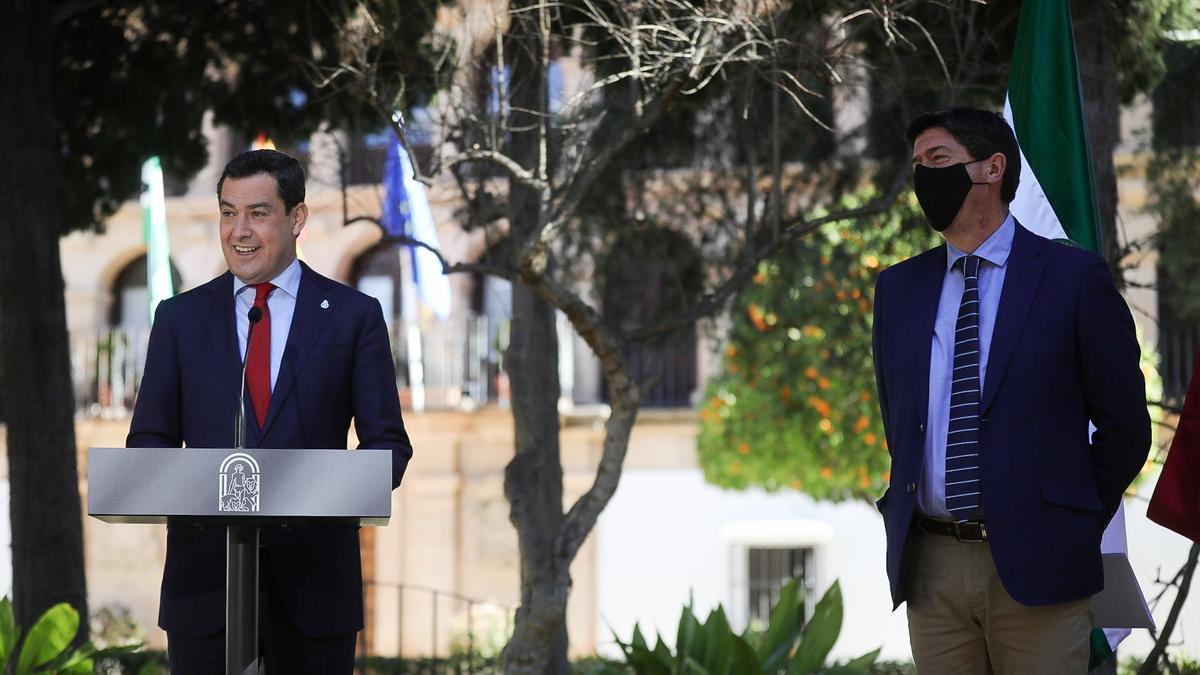 Moreno, durante su intervención tras el Consejo de Gobierno de la Junta, celebrado en Ronda.