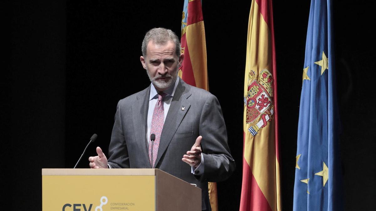 Felipe VI, durante su intervención en la clausura de la asamblea general de la CEV
