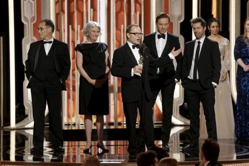 """Handout of Callender speaking after """"Wolf Hall"""" won Best Television Limited Series or Motion Picture Made for Television, at the 73rd Golden Globe Awards in Beverly Hills"""