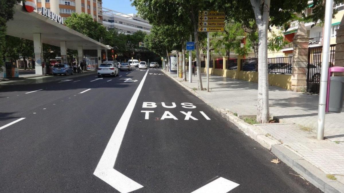 Nuevo tramo de carril bus entre Joan Maragall y Manacor.