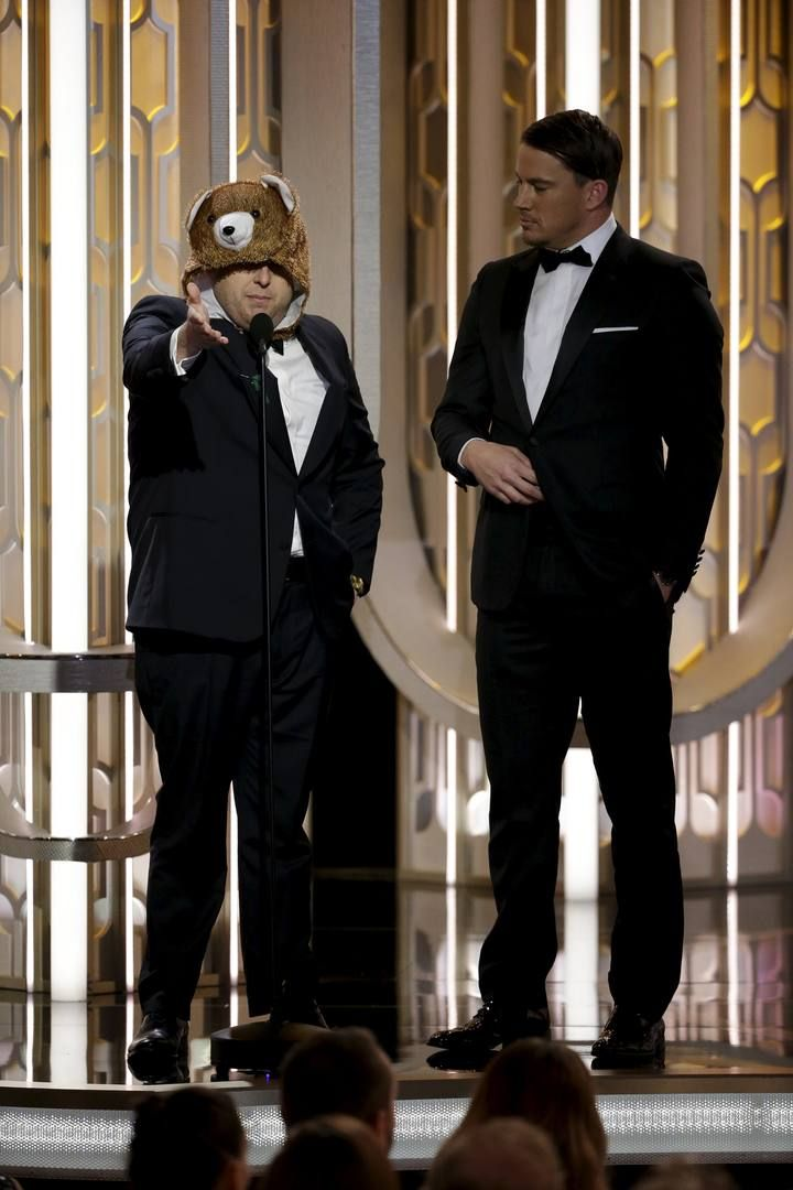 Handout of Hill and Tatum presenting at the 73rd Golden Globe Awards in Beverly Hills, California