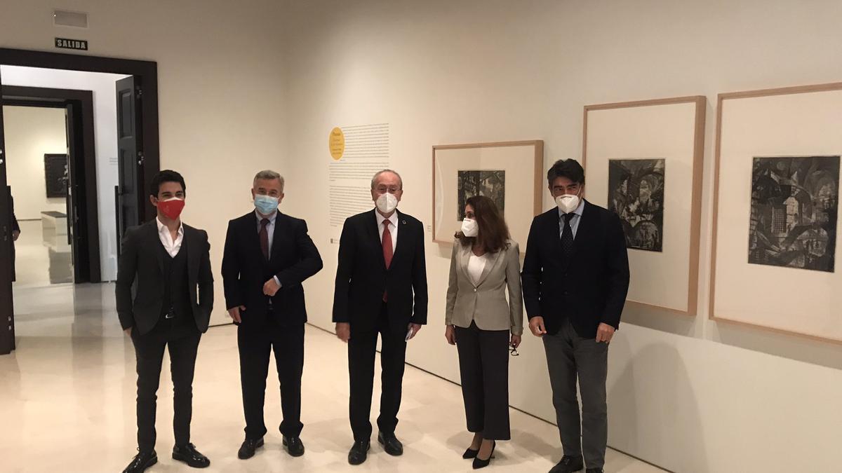Representantes del Museo de Bellas Artes en el Thyssen.