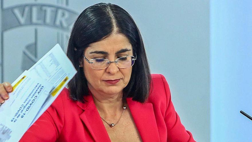 La ministra de Sanidad, Carolina Darias, dio a conocer ayer las novedades respecto al acceso de público a los estadios. | | EFE
