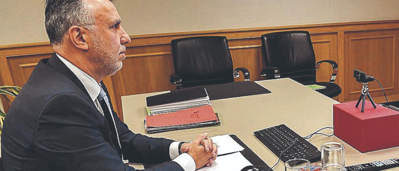 El presidente Torres, en una reciente conferencia telemática.