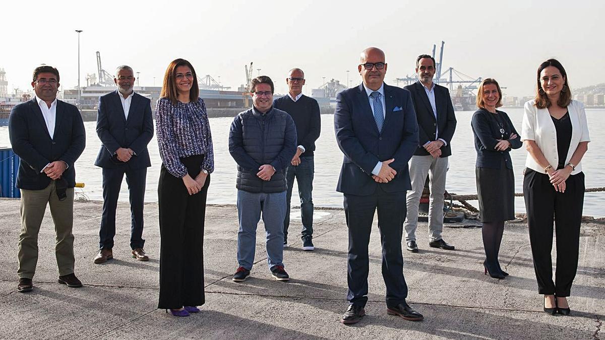 Nueva junta directiva de la Asociación de Consignatarios y Estibadores de buques de Las Palmas. |