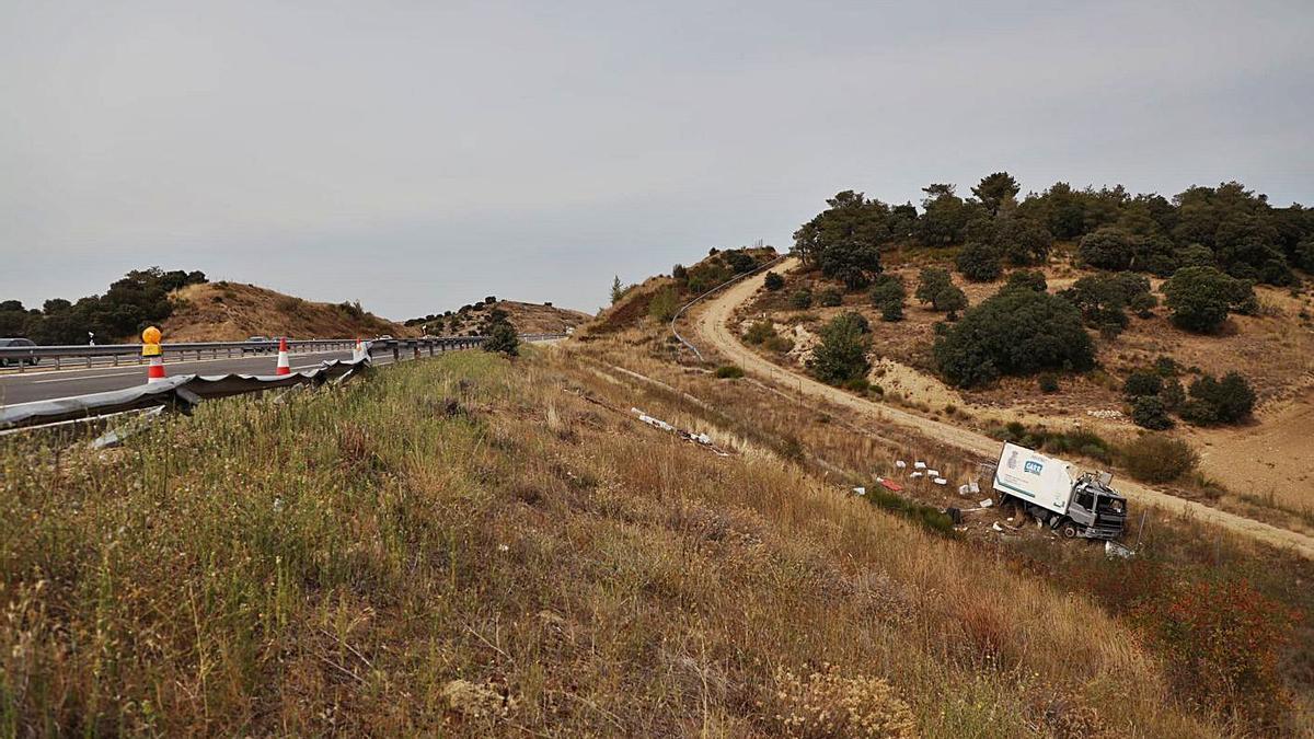 Camión precipitado por el terraplén como consecuencia del accidente ocurrido en la A-66. | Nico Rodríguez
