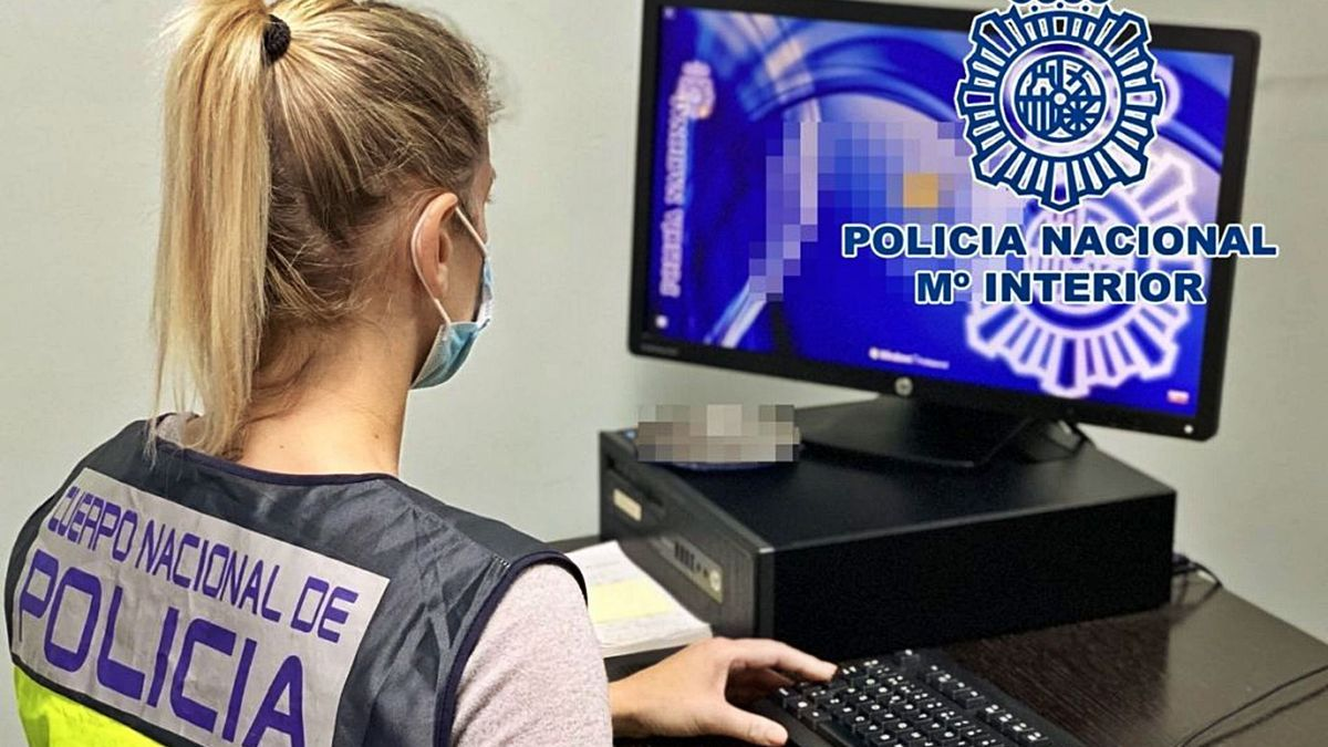 Una funcionaria del Cuerpo Nacional de Policía consulta la base de datos.