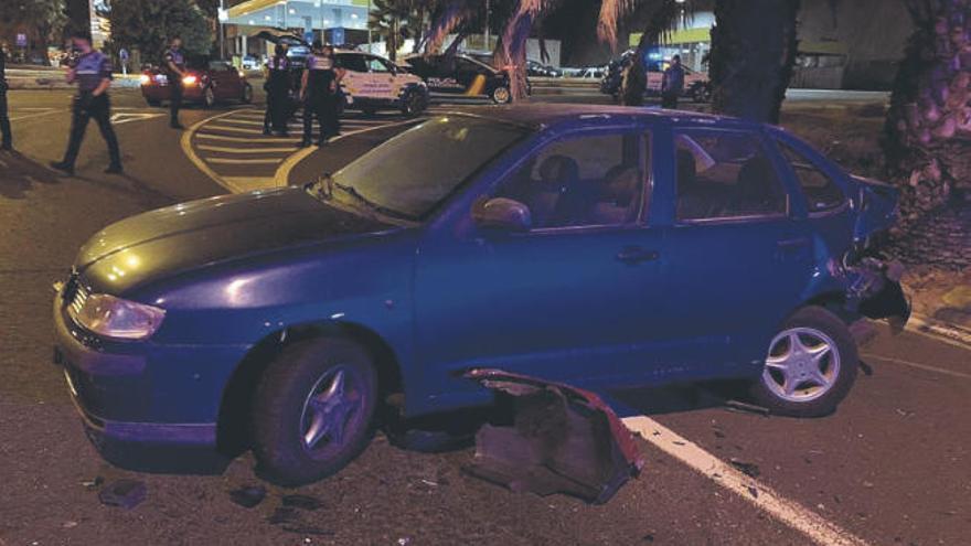 La persecución de un coche robado en el Sur acaba con choque en Las Palmas