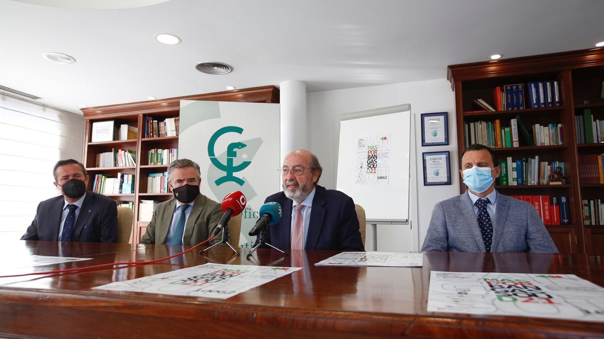 Miguel Aguirre, director de la Fundación Bangassou, junto a Rafael Casaño, izquierda, y otros representantes del Colegio de Farmacéuticos.