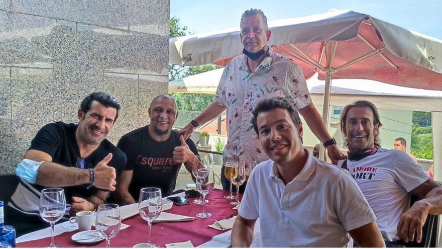 """Carne a la brasa """"galáctica"""" con Figo y Roberto Carlos en Vigo"""