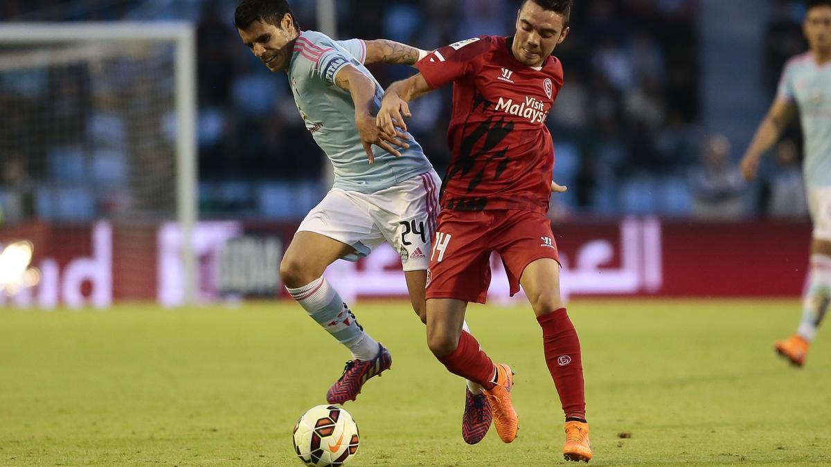 Aspas, durante un partido con el Sevilla en Balaídos.