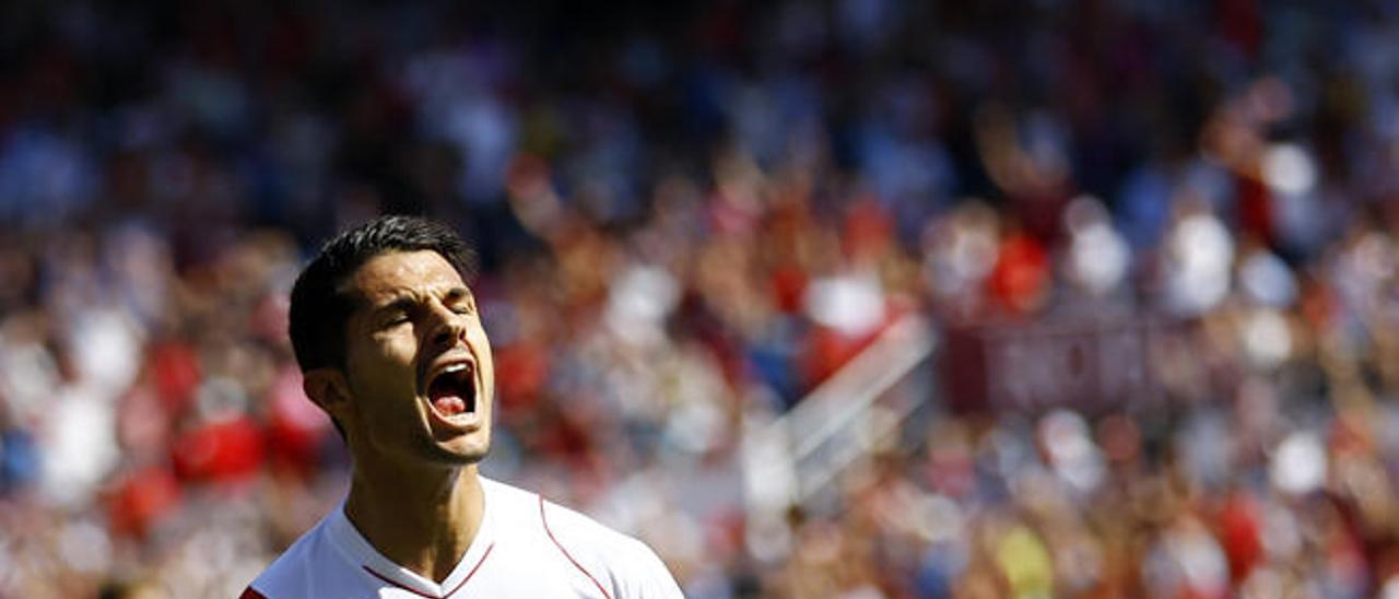 Vitolo celebra un gol anotado al Levante esta temporada.
