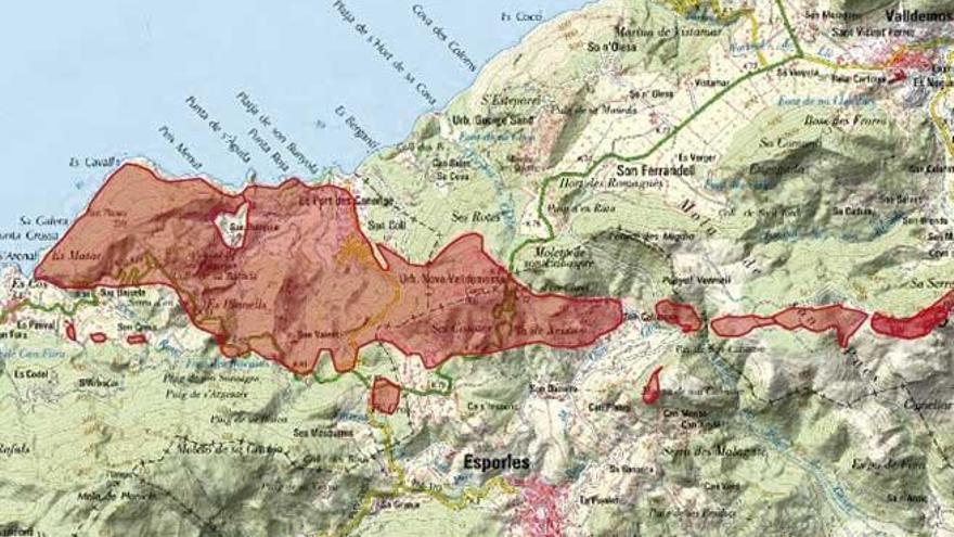 El temporal en la Serra afectó a 736 hectáreas de Banyalbufar y Esporles