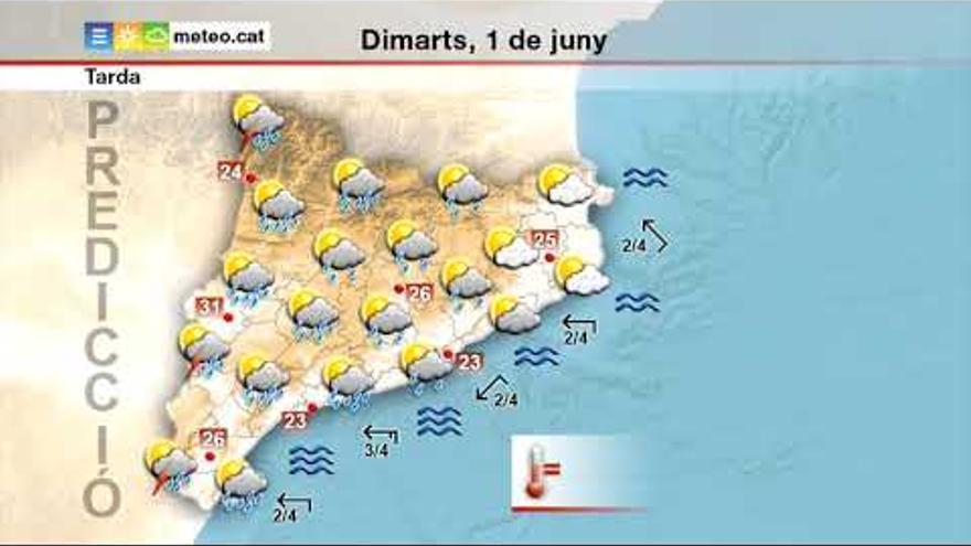 Matí de calor i tarda de xàfecs, aquest dimarts