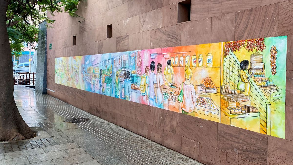 Mural del Mercado de San Serbastián de La Gomera.