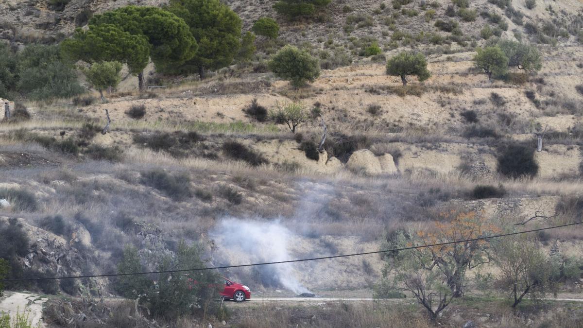 Una quema agrícola en Xixona