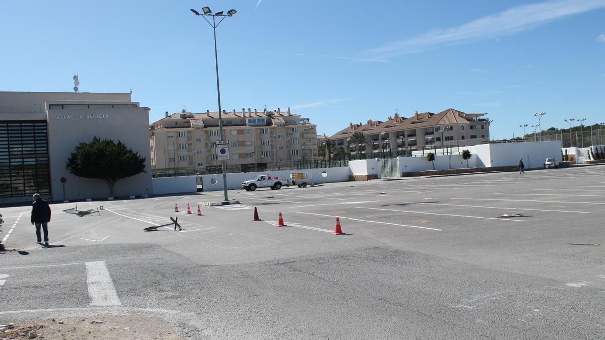 El aparcamiento de Les Sorts de Moraira