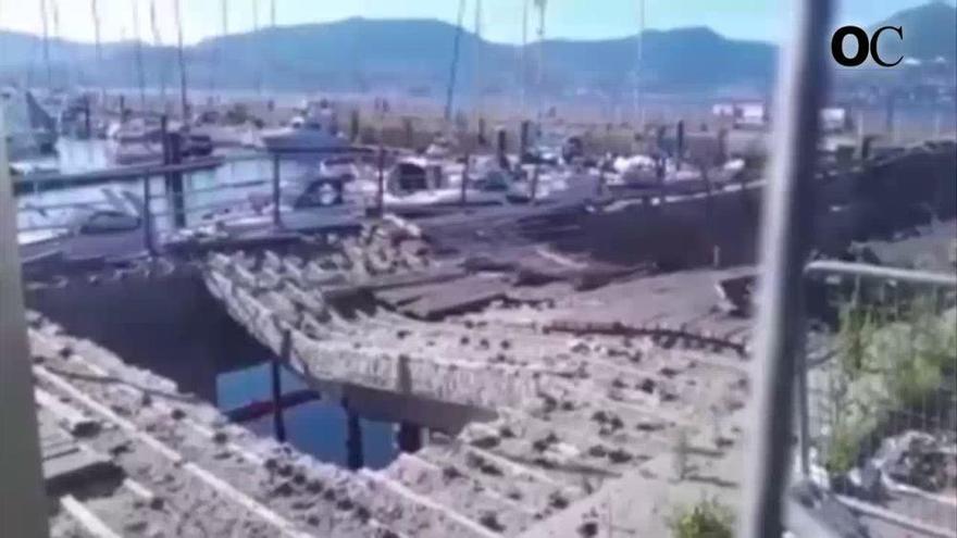 Otro derrumbe del muelle de O Marisquiño en Vigo