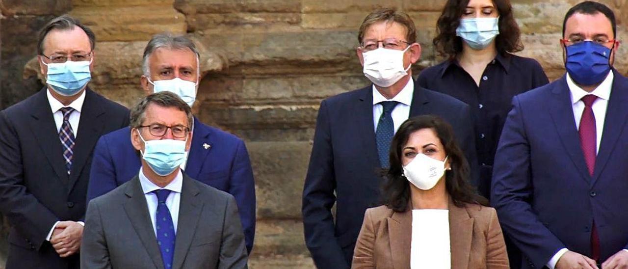 Puig, ayer en la conferencia de presidentes, junto a Feijóo, Díaz Ayuso, Torres, Barbón y Andreu.