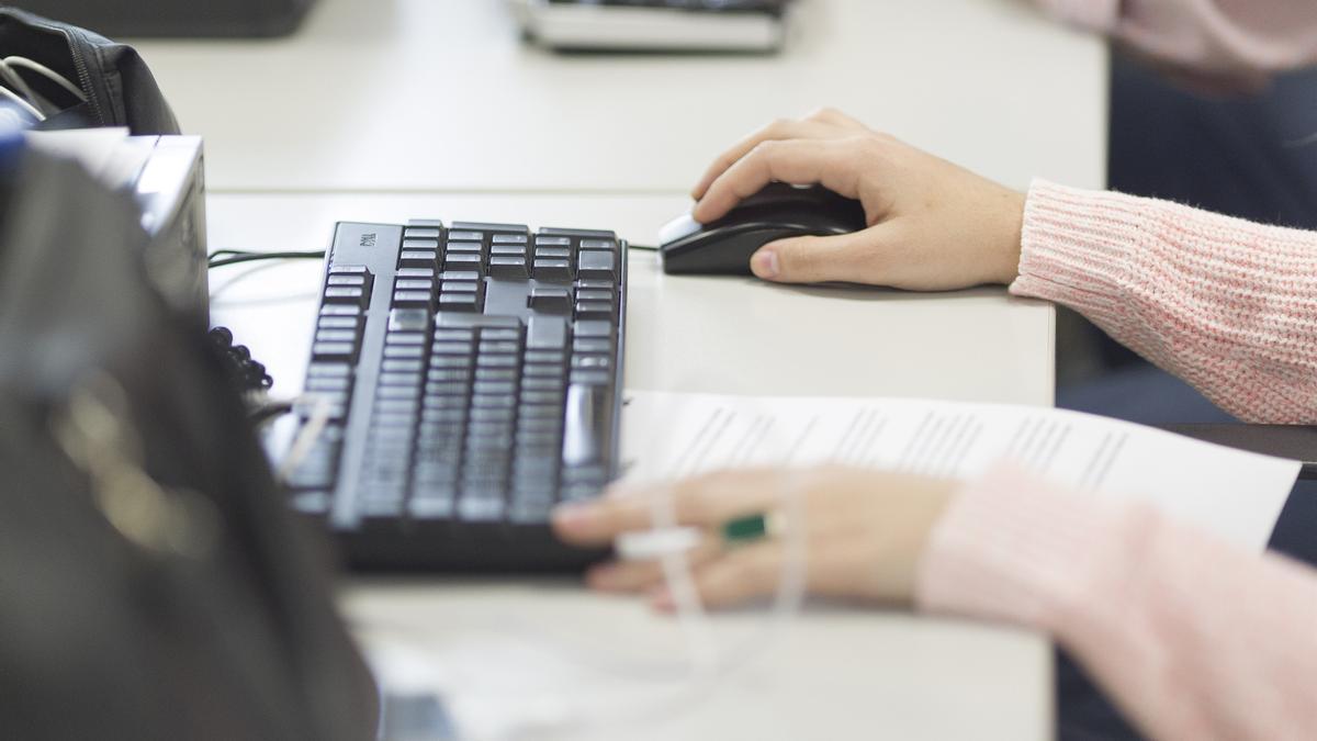 Un trabajador teclea frente a un ordenador.