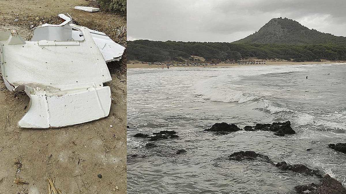 Restos de la embarcación aparecidos en Cala Agulla y el mal estado que presentaba el mar.