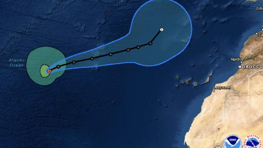 Theta se aleja cada vez más al norte de Canarias