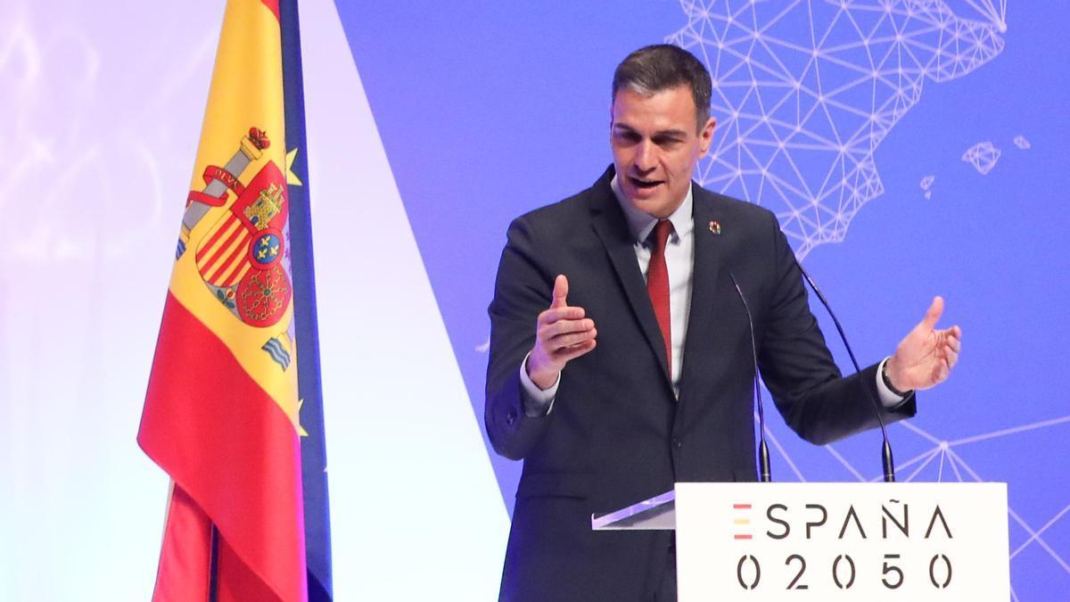 El presidente del Gobierno, Pedro Sánchez, interviene en la presentación del proyecto España 2050,