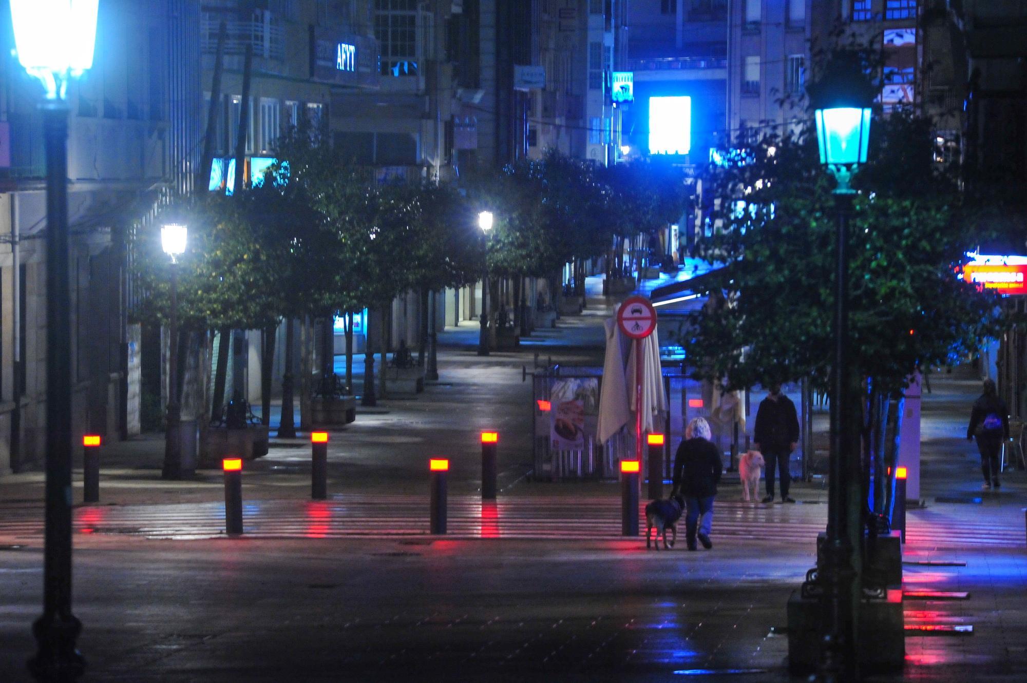 Así estaban las calles de Vilagarcía de Arousa este lunes.