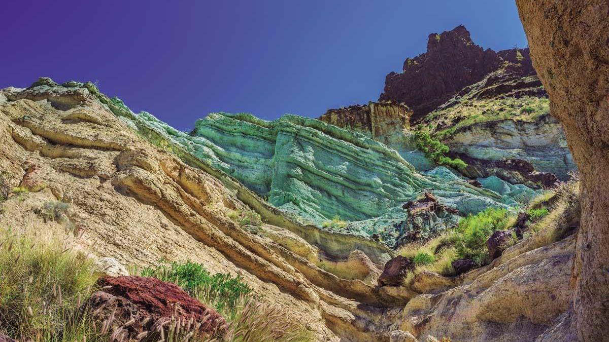 Los Azulejos, la muntanya de colors de Gran Canaria