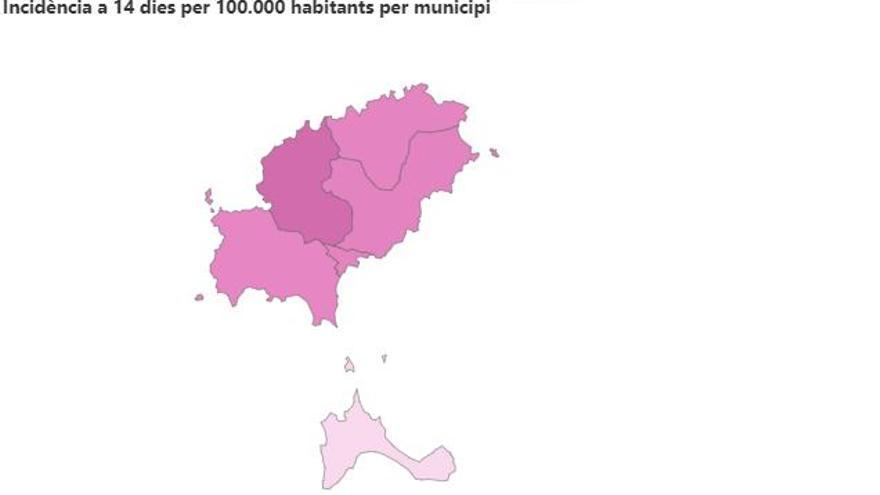 Las incidencias se desploman y tiñen de rosa los municipios de Ibiza y Formentera