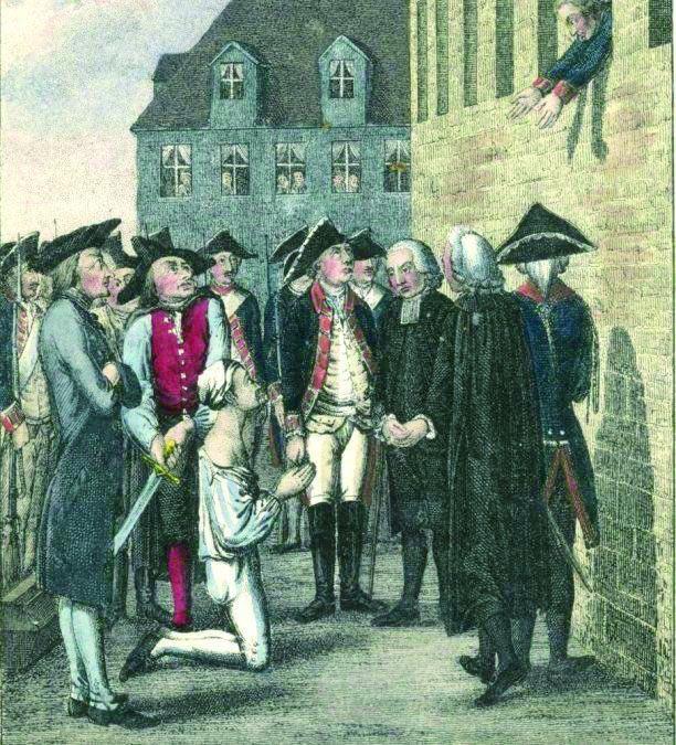 Grabado de la ejecución de  Von Katte ante la  celda de Federico.