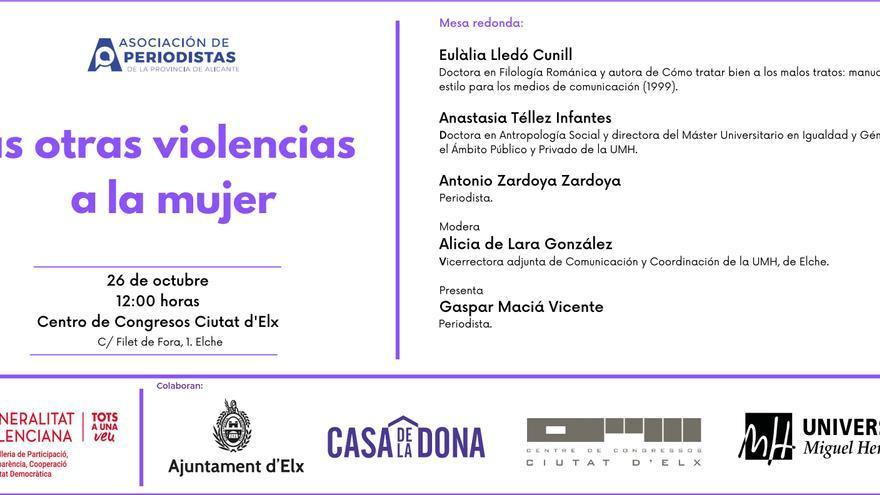 Mesa redonda 'Las otras violencias a la mujer' en el Centro de Congresos de Elche el día 26