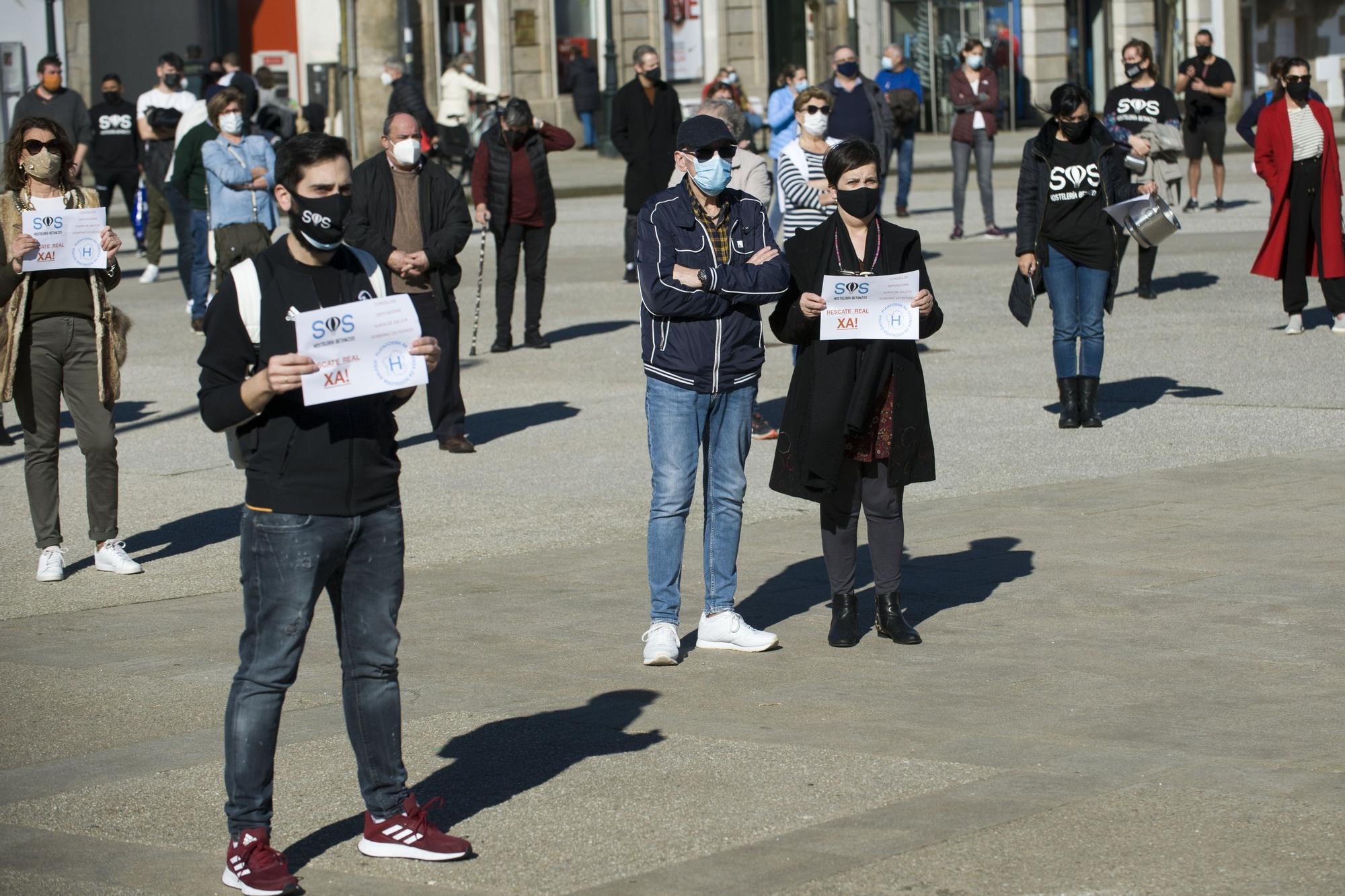 Manifestación por la hostelería en Betanzos