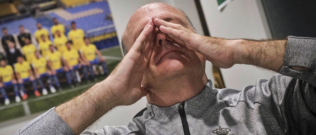 José Mel Pérez, máximo responsable técnico de la UD, con un gesto expresivo, durante una entrevista con este medio, en noviembre del pasado año.