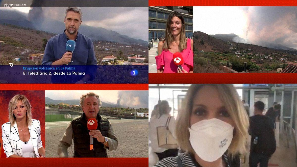 TVE y Antena 3 también envían a sus presentadores hasta La Palma por el volcán.