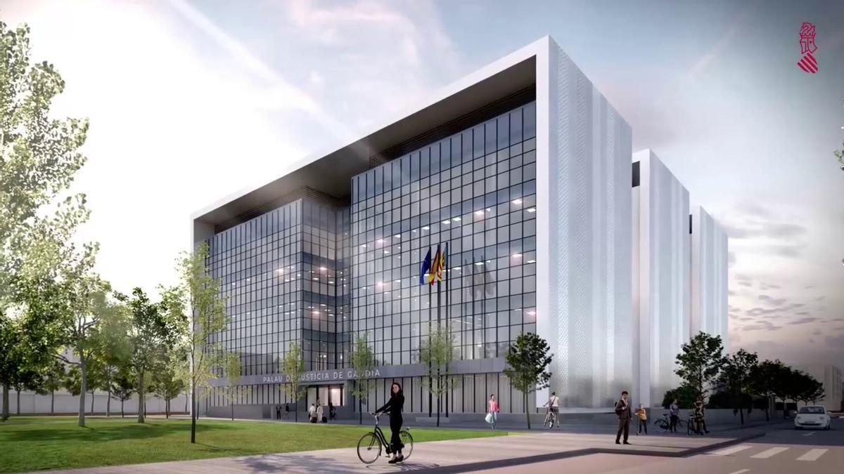 Imagen virtual del futuro Palacio de Justicia de Gandia