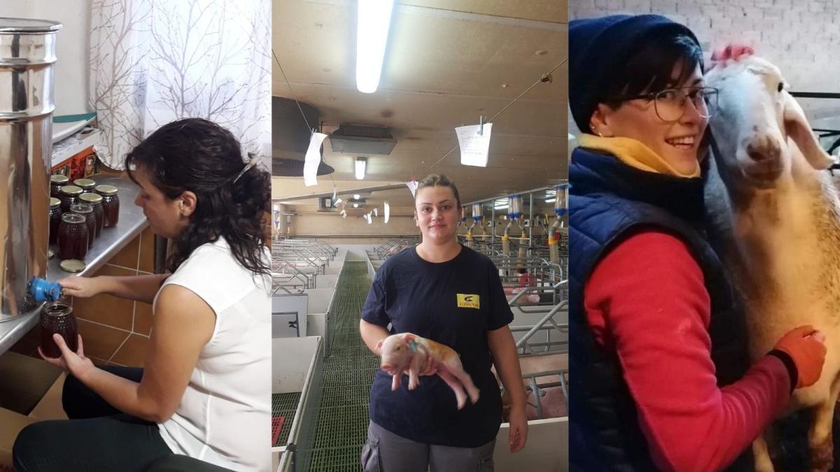 Rocío Risco, apicultora; Marta Urieta, ganadera; y Nerea del Río, ganadera y pastora.