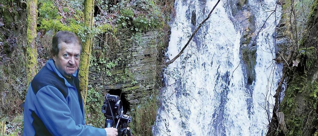 Víctor Villar fotografía la cascada de Riofrío (Boal).