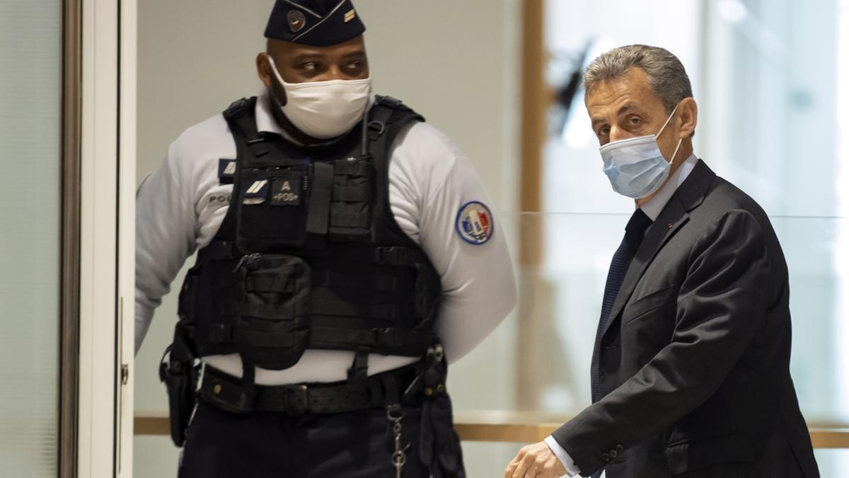 Nicolás Sarkozy, durante su declaración en el juicio