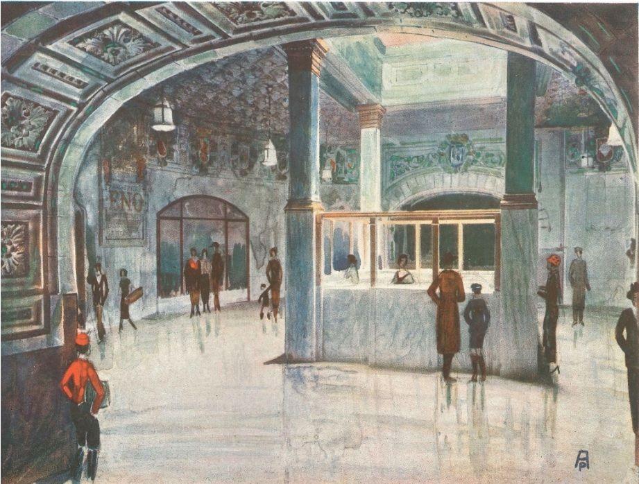 Vestíbulo de la estación de Sol del metro de Madrid 1924.jpg