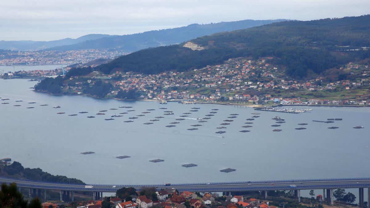 Vista de la ría de Vigo, con empresas en la costa.