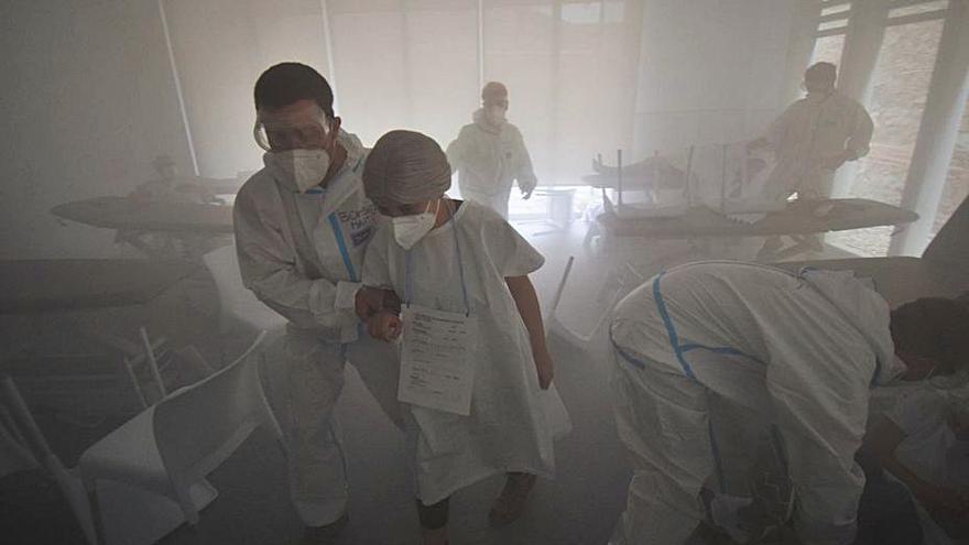 UManresa recrea un incendi en una residència durant el simulacre d'emergències