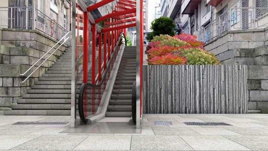Recreación de las escaleras mecánicas previstas en Joaquín Loriga