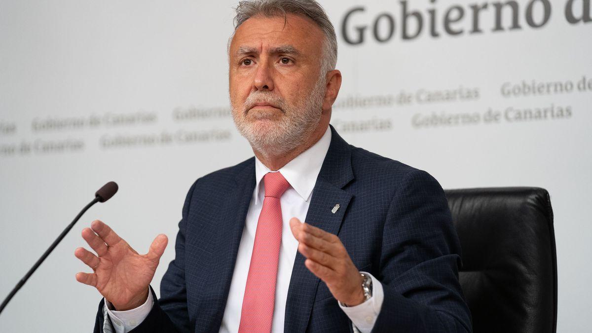 El presidente del Gobierno de Canarias, Ángel Víctor Torres, durante una comparecencia anterior.
